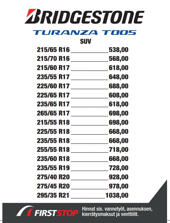 Bridgestone Turanza T005 SUV