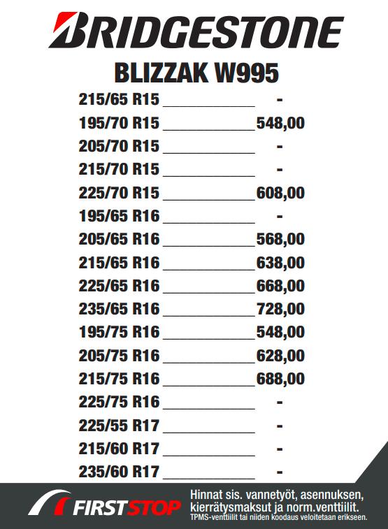 Bridgestone Blizzak W995 hinta